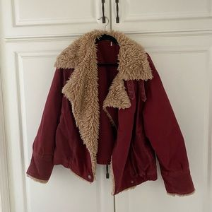 Free people rust jacket with faux fur